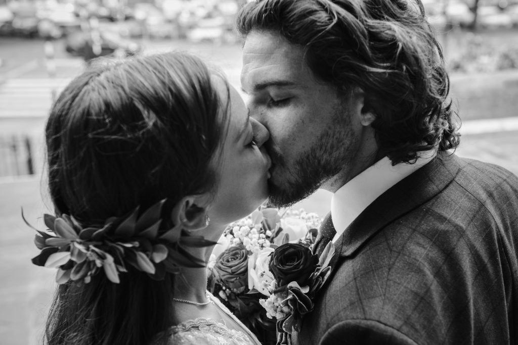 Groom-kissing-Bride